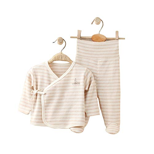 COBROO - Juego de pijama para bebé, tallas de 0 a 6meses, 100% algodón, polainas y camiseta cruzada con cierre de lazo y manoplas B-marrón claro Recién nacido
