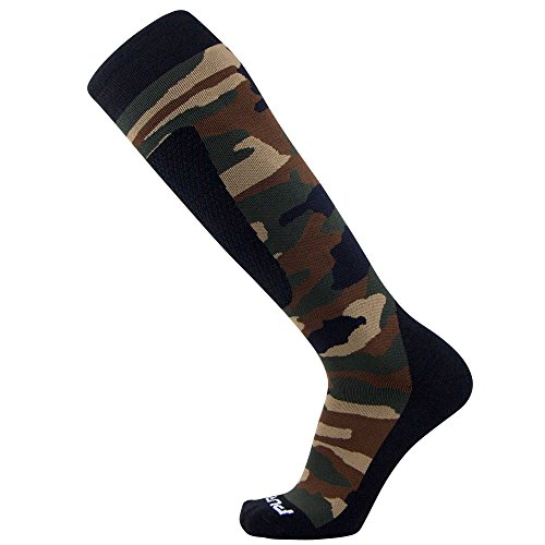 Midweight Camo Snowboard Socks – Merino Wool Winter Cold Weather OTC Ski Sock – Great for Snowboarding, Skiing, Snow Shoeing, Outdoors (M, Army Green)