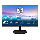 Philips 243V7QDSB Monitor 24' LED IPS FHD, 4 ms, 3 Side Frameless, Low Blue, Flicker Free, HDMI, DVI, VGA, Attacco VESA, Nero