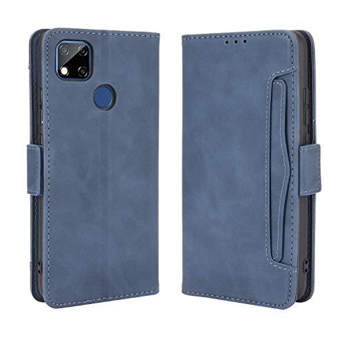 Lederhülle für Xiaomi Redmi 9C Hülle, Flip Hülle Schutzhülle Handy mit Kartenfach Stand & Magnet Funktion als Brieftasche, Tasche Cover Etui Handyhülle für Xiaomi Redmi 9C, Blau