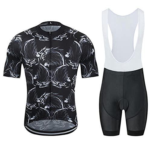 HXTSWGS Conjunto Ropa Ciclismo Hombre Verano,Camisa de Ciclismo de Verano + Pantalones Cortos con Correa, Ropa de Carretera para Bicicleta de montaña al Aire Libre-A_M
