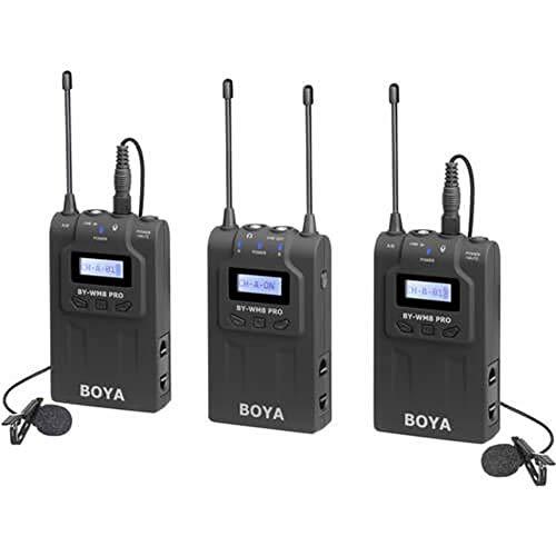 Sistema Microfone Lapela Sem Fio Boya BY-WM8 Pro-K2 Wireless de Dois Canais UHF
