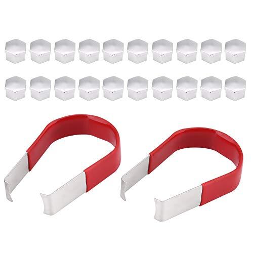 Kit de Tapas en las Tuercas de las Llantas, 20 piezas 19 mm Tapones para los Tornillos de las Ruedas con 2 Pinzas Plástico
