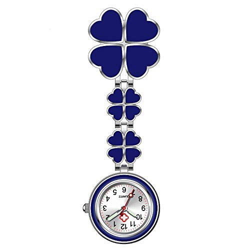 B/H Pulsuhr Krankenschwester,Krankenschwester mit vierblättriger Kleeblattlegierung, Student Exam Luminous Pocket Watch-blau,Damen Taschenuhr Krankenschwester