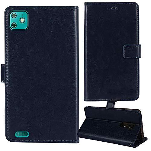 Dingshengk Azul Oscuro Funda Caso Carcasa Proteccion Cuero Flip Case Cover Soporte para Yezz Liv 2 LTE 5.5'