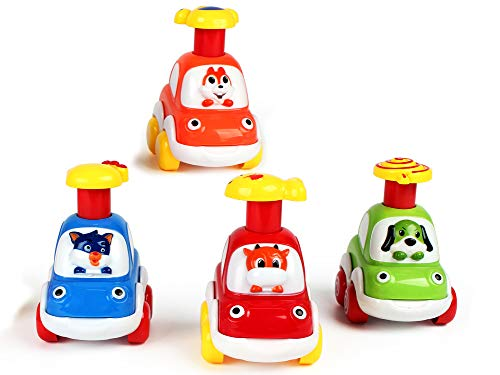 Drücken Sie und gehen Sie Spielzeug Früherziehung Autos Spielzeug für Jungen und Mädchen 1 2 3 4 5 Jahr, Friktionsbetriebene Spielzeugfahrzeuge 4er-Set Kalb, Welpe, kleines Eichhörnchen und Kitty Cat