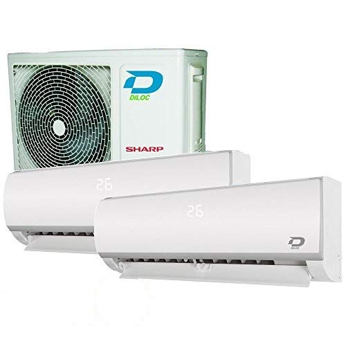 DUO SPLIT 12000+12000 30+30 m² KLIMAANLAGE DILOC KOMPRESSOR SHARP WIFI R32
