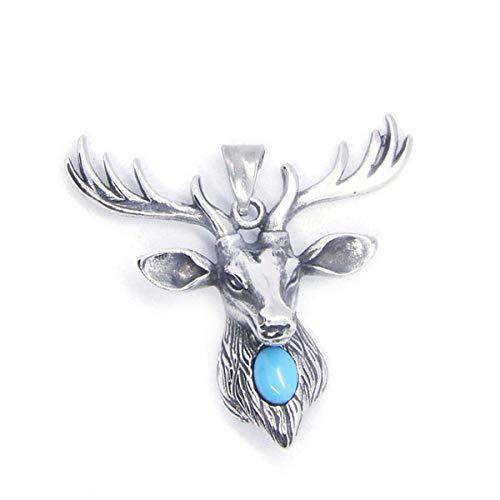 N/W Colgante de Alce para Mujer 2018 con Colgante de Alce de Moda de Acero Inoxidable de Piedra Azul 316