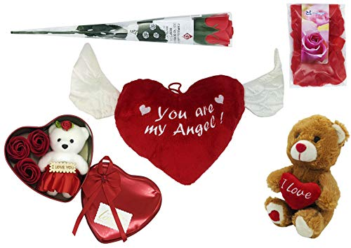 JOVAL - Kit De San Valentín Romántico De Peluches, Flores y Regalos. Corazón Rojo y Oso de Peluche. para Decoración, Aniversarios y Compromiso.