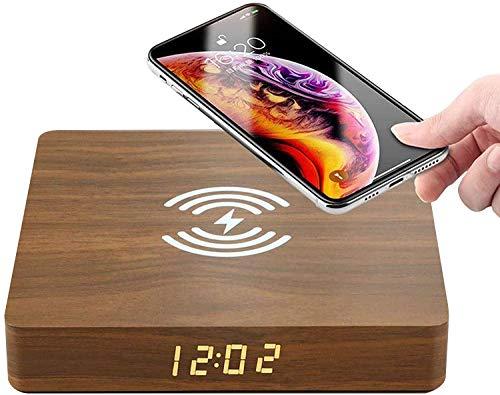 Gymqian Reloj Despertador de Madera Qi Cargador Inalámbrico con Pantalla Lcd Digital Sisplay para Iphone 11/11 Pro/Max/Xs/Xs Max/X / 8/8 Plus, Galaxy S20 / S10 / S9 / S8, No