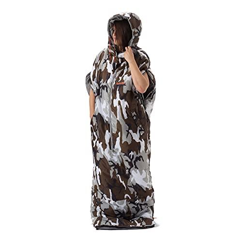 Lumaland Where Tomorrow Anziehbarer Schlafsack 210x80x60cm - 2-Wege Reißverschluss, mit Öffnungen für Arme und Füße - Outdoor Camping Body-Schlafsack - Camouflage Grau