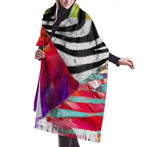 Bufanda larga y cálida y suave Otoño Invierno Abrigo de primavera Estampados de cebras coloridas Chales ligeros y amigables con la piel Bufandas de cachemira adolescentes adultos