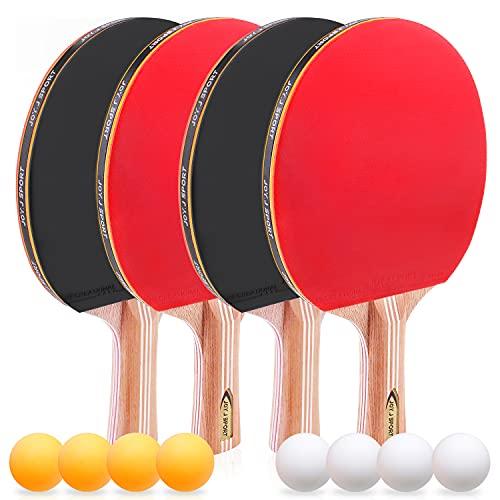 JOYJ Sport Raquetas de Tenis de Mesa, 4 Raquetas de Ping Pong+ 8 Pelotas + 1 Bolsa de Viaje, Sets de Ping Pong Portátil, Interior al Aire Libre