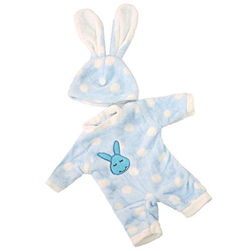 MagiDeal Conjunto Ropa y Sombrero de Mono Azul Conejo para Muñecas Chica Americana18 Pulgadas