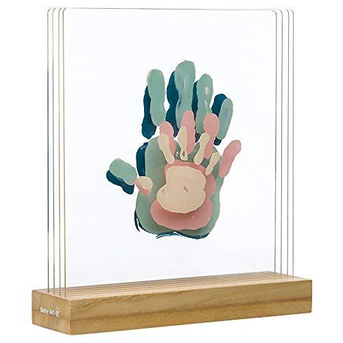 Baby Art My Family Prints Kit de impresión para crear la huella de las manos de toda la familia, original idea regalo, con base de madera