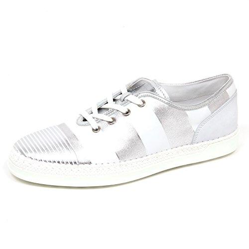 Tod's E3014 Sneaker Donna White/Silver Scarpe Rafia Shoe Woman [39]