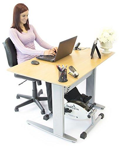 DeskCycle de MagneTrainer - Mini vélo d'exercice pour maison ou bureau - blanc et argent