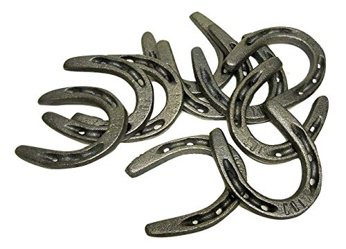 "10 pc Cast Iron Horseshoes 3 1/2"" x 3"" Pony size for Decoration and Crafts"