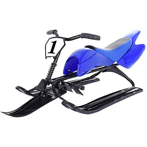 Slitta con 2 Freni A Pedale Scooter da Neve E Volante, Slitta per Bambini Telaio in Acciaio E HDPE Ad Alta Densità 130Cm