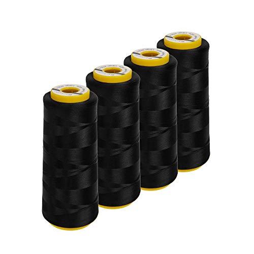 Lialina Hilo para máquina de coser Overlock, 4 conos de 2500 metros, color: negro, compatible con máquinas de coser, 100% poliéster