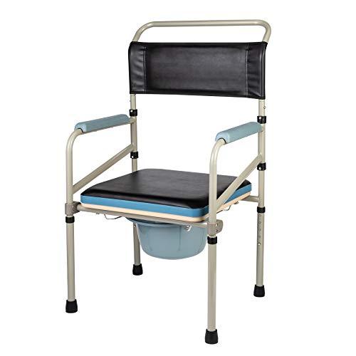 VONOYA Silla Portátil con Inodoro Capacidad de 150kg Silla Orinal para los Mayores/Discapacitados/Ancianos Silla de WC de Altura Ajustable con Asiento Extraíble