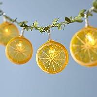 Lights4fun - Cadena de 10 Luces LED Decorativas en Forma de Limones a Pilas para Uso en Interiores y Exteriores