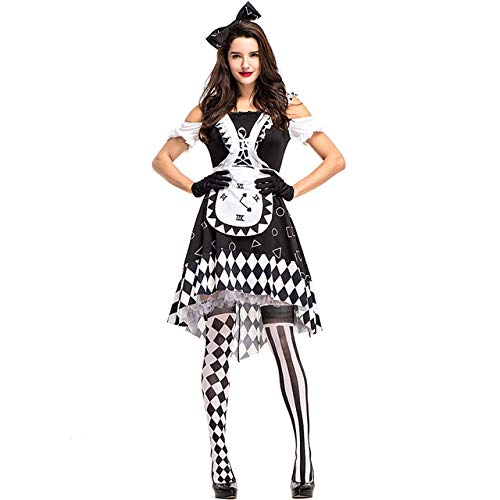 WSJDE Alice in Wonderland Costume Alice Maid Clocks Plaid Halloween Fantasia Outfit Fancy Dress M Black