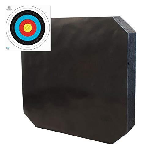 YATE Bogenschießen XXL Zielscheibe Polimix R 80cm x 80cm x 10cm bis 45 lbs (Pfund) Bogensport Bogenschießscheibe Bogenzielscheibe mit 2 Scheibenauflagen 60cmx60cm Indoor & Outdoor