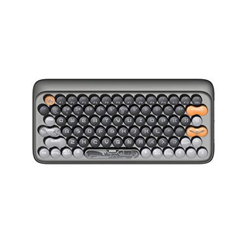 SKK Gaming Teclado Teclado mecánico Compacto de 87 Teclas Teclas de máquina de Escribir Redondas Teclado Bluetooth sin Cable para Mac Windows PC portátil Ergonomía