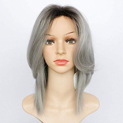 Ombre Grey Long Perruques pour Femmes Naturel ondulé Curly Dark Roots Synthétique Heat Resistant Hair with Cap Perruques