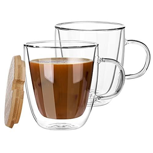 Juego de tazas de café de cristal con doble pared aisladas con tapa, tazas de cristal sin plomo, tazas de café de cristal, vasos de cerveza, taza de latte, tazas de café de cristal, transparentes