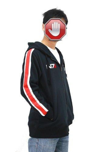 Xcostume Unisex Mass Effect Hoodie Deluxe Black Cotton Sweatshirt CL N7 Cosplay L