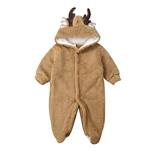 Marksmile Newborn Unisex Baby Christmas Outfits Long Sleeve Hooded One Piece Romper Jumpsuit Footies Reindeer Costume (Brown, 12-18 Months)