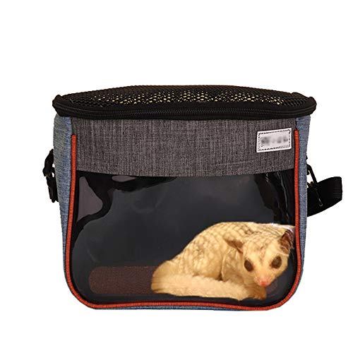 Small Animal Guinea Pig Hamster Squirrel Hedgehog Chinchilla Sugar Glider Ferret Parrot Rat Mouse Carrier Bag Travel Pets Pouch Purse Outgoing Outdoor Portable with Shoulder Strap (M, Light Blue)