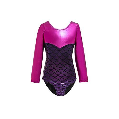 N-B Stitching Mermaid Long-Sleeved Girls Gym Suit Sleeveless Leotard Children's Dance Clothes School Sports Ballet Dance Clothes