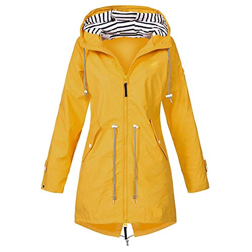 Vertvie Damen Outdoorjacken Wasserdichter Regenjacke Regenmantel Mit Kapuze Windbreaker Übergangjacke Lange Jacke Mantel Atmungsaktiv Leichter Mantel Funktionsjacke (XL, Gelb)