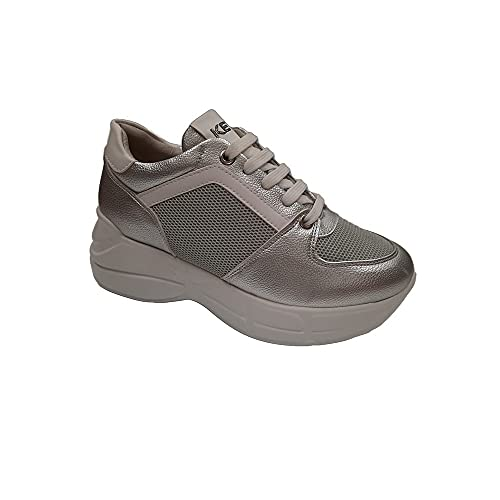 KEYS Zapatillas Deportivas de Mujer en Piel Plateada 700-SILVER 39 EU