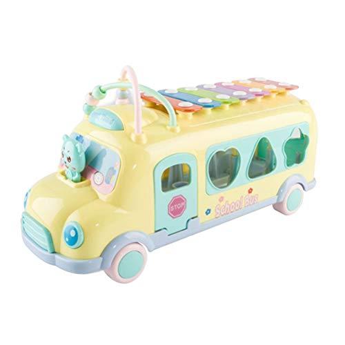 YeahiBaby xilofono a Forma di Camion per Neonato Strumento Giocattoli Musicali Giochi Trainabili per Bambini in Giallo