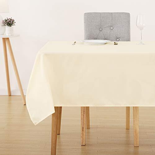 Deconovo Tischdecke Wasserabweisend Tischwäsche Lotuseffekt Tischtücher 130x220 cm Creme