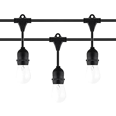 48 Ft Weatherproof Outdoor String Lights - UL Listed - Commercial String Lights with 15 Hanging Sockets -18 11Watts S14 Edison Vintage Bulbs Included - Black - Perfect Bistro Porch Patio Lights