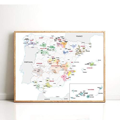 LLXHG Frans wijngebied Bordeaux kaart poster en afdrukken woonkamer muurkunst canvas Spanje wijngebied kaart wooncultuur B-50X70cm geen lijst