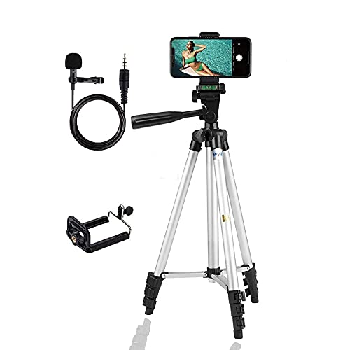 theprintingzone Tripod 3110 Stand for Phone and Camera Adjustable Aluminium theprintingzone Adjustable, Aluminium Alloy Tripod Stand Holder for Mobile Phones and Camera, and Photo and Video Shoot (Silver, 3110) and a aluminum mic for voice recording and video making
