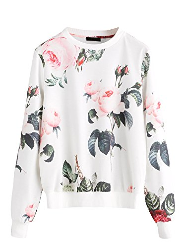 Romwe Women's Casual Floral Print Long Sleeve Pullover Tops White S