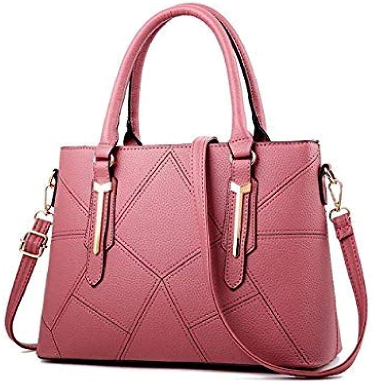 Bloomerang FUNMARDI Fashion Sweet colors PU Leather Handbags Luxury Solid Women Bags Brands Designer Crossbody Bags High Quality WLHB1714 color Pink 33cmx24cmx13cm