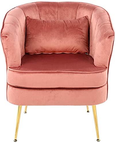 Silla de sala de estar Sillón de ocio / sala de dormir Sillón de terciopelo moderno Sillón Sofá Sofá Sofá Sofá con cojín trasero Dormitorio para el hogar Mobiliario de oficina (rosa) con sillón d
