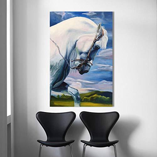 Canvas Prints Gepersonaliseerde Schilderijen Dieren HD Canvas Olieverfschilderijen Kracht Paard Muur Kunst Posters voor Woonkamer Moderne Home Decor Foto's 40 * 60CM With frame