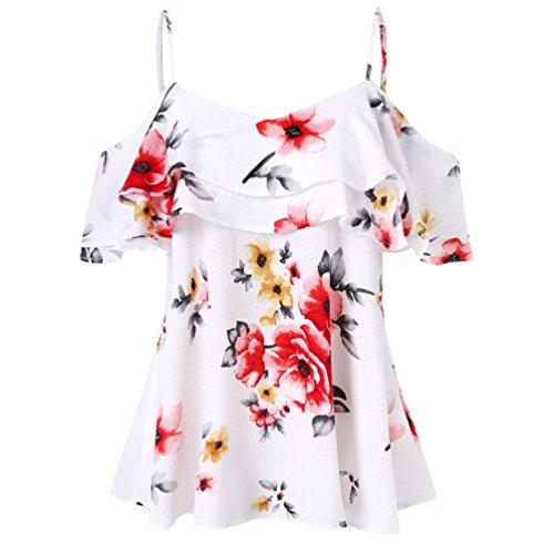 VEMOW Sommer Elegante Damen Mädchen Frauen Blumendruck Schulterfrei Hemd Sleeveless Beiläufige Partei Strand Lose Weste Tank Tops Bluse(Weiß, 44 DE/L CN)