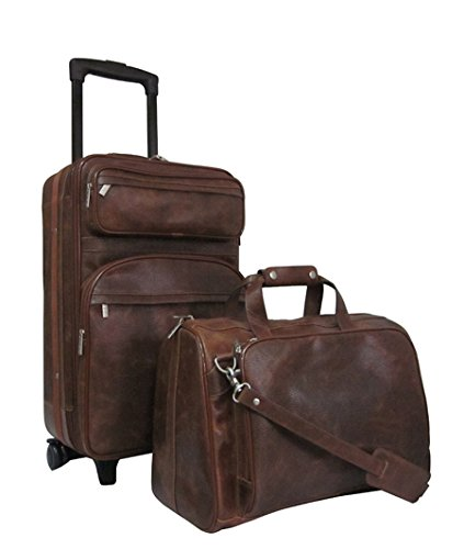 Amerileather Waxy Brown Leather Two Piece Set Traveler