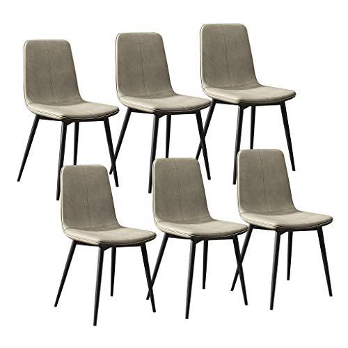 LSRRYD Set van 6 moderne keukenstoelen eetkamerstoelen lounge barkruk met metalen poten PU lederen zitting en rugleuningen voor woonkamer slaapkamer kantoor salon grijs