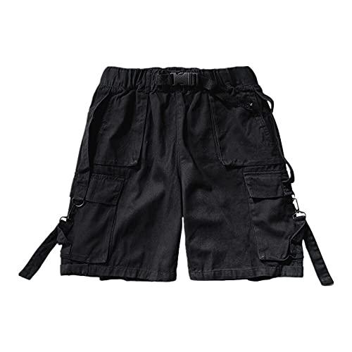 N\P Pantalones cortos de carga de verano de los hombres de la cinta de bolsillo lateral casual Streetwear Tatical trabajo cadera